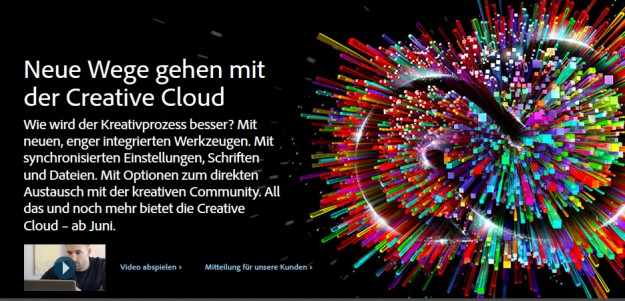 Adobe Creative Cloud - Screenshot der Werbseite