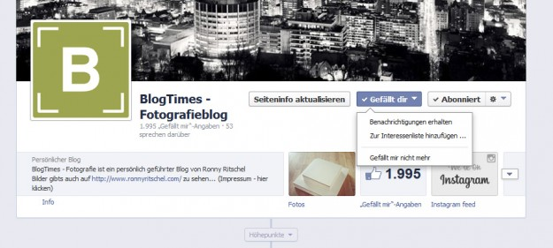 BlogTimes auf Facebook - Interessenliste